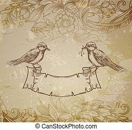 引かれる, 鳥, グリーティングカード, 手