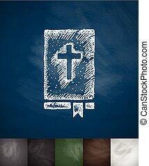 引かれる, icon., 聖書, イラスト, 手