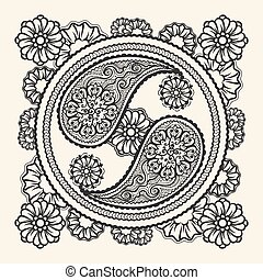 引かれる, yin - yang, 手の 印