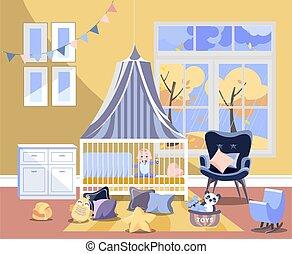 引き出し, 椅子, furniture., 子供, 部屋, childrens, 男の子, 内部, 容易である, 新生, 寝室, おもちゃ, 託児所, イラスト, 胸, 秋, 平ら, ベクトル, 風景, ベッド, 窓, 板, 変化する