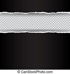引き裂かれたペーパー, 黒, 透明, 背景