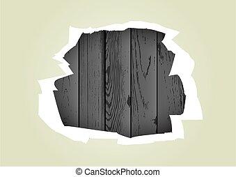 引き裂かれた, 木, 穴, ペーパー, 背景