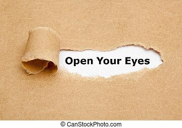 引き裂かれた, 目, ペーパー, あなたの, 開いた