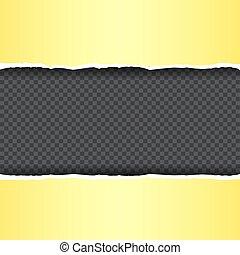 引き裂かれた, 黄色, ペーパー, 透明, 背景
