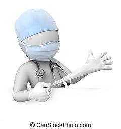 引き, 手袋, 医者