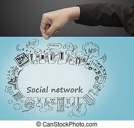 引き, 手, ネットワーク, 社会