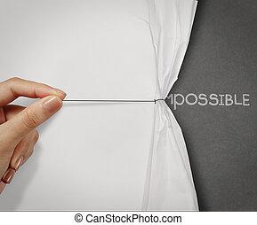 引き, 概念, 単語, ショー, 可能, 手, ペーパー, 変えられた, しわを寄せられた, 不可能