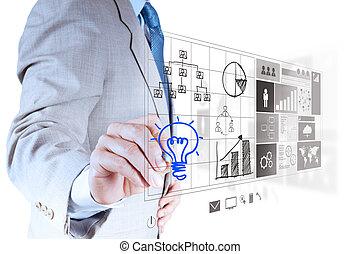 引く, ビジネスマン, lightbulb, インターフェイス, コンピュータ, 手, 新しい