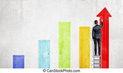 引く, 立つ, カラフルである, columns., チャート, ペンキ, 段ばしご, ビジネスマン, いくつか, ...