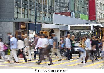 引っ越し, 歩行者, 中に, ビジネス 地区, ぼんやりさせられた, motion.