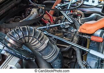 引擎, 修理, 工作, 商店, 汽車, 技工