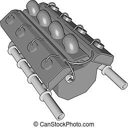 引擎, 汽车, 摘要, 灰色, 描述, 矢量, 背景, 白色