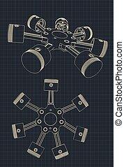 引擎, 活塞, 块, 辐射状