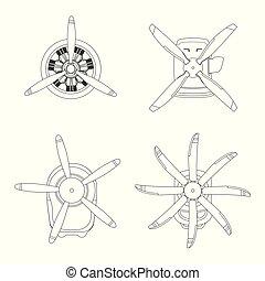 引擎, outline, 背景, 图, 飞机, 发动机, 推进器, 白色, style., 轮廓