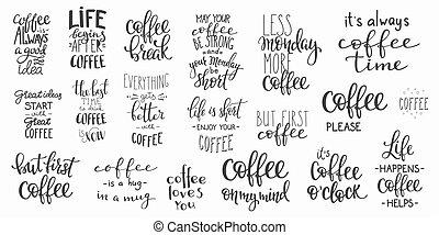 引用, カップ, コーヒー セット, 活版印刷