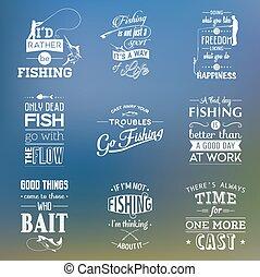 引用, 印刷である, セット, 型, 釣り