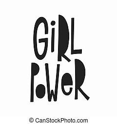 引用, 女の子, lettering., ワイシャツ, 力