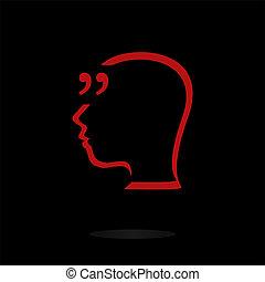 引用, 抽象的, スピーチ, icon., 印, 印, bubble., 引用, バックグラウンド。