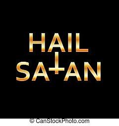 引用, satan-, 神秘的, antichrist, 黒, シンボル, 金, あられ