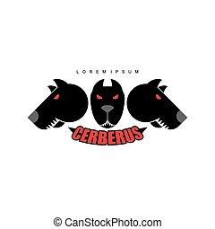 引起惊慌, cerberus-warrior, 动物, 标识语, 头, 邪恶, 红, eyes., dog., dogs.