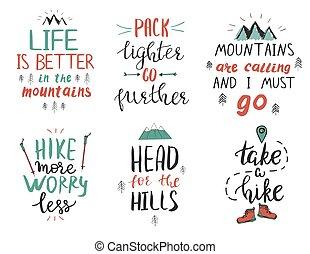 引述, 机動, 山, 集合, hiking., 大約, 鼓舞人心