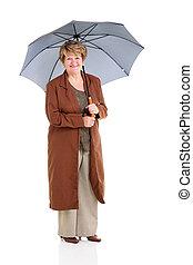 引退した, 年長の 女性, 傘, 保有物