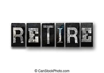 引退しなさい, 概念, タイプ, 隔離された, 凸版印刷
