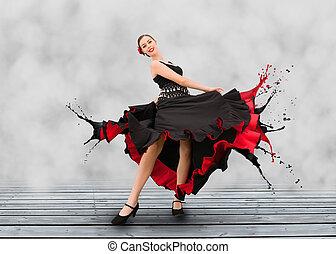 弗拉門科民歌舞蹈演員, 由于, 衣服, 轉動