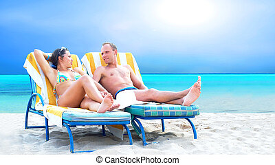 弛緩, デッキ, 恋人, 椅子, 浜, 後部光景