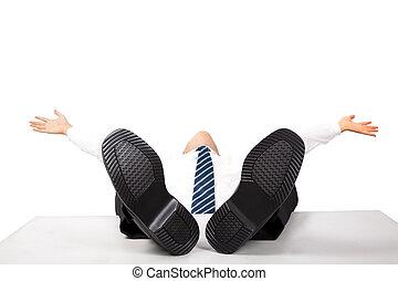 弛緩, ビジネス, の上, フィート, 人, 机