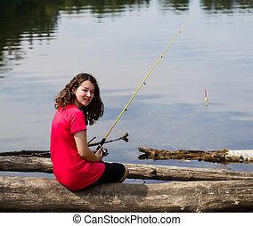 弛緩, 女の子, 湖, 若い, 釣り, 間