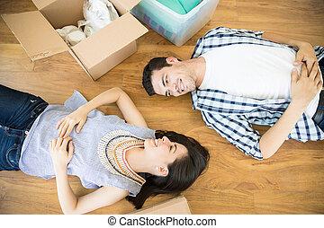 弛緩, 床, 家, 恋人, 箱, 新しい, 微笑