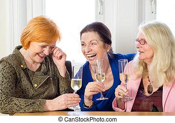 弛緩, 成人, ワイン, 幸せ, 友人, ガラス