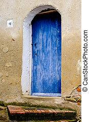 弧, 入口, 由于, 藍色的門