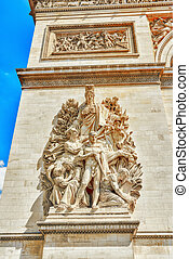 弧, de, france., moldings, triomphe, 装飾, paris.