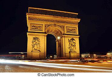弧, triomphe, 夜, パリ, de