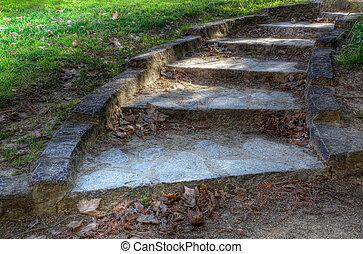 弯曲, 石头, 楼梯, hdr, 关闭
