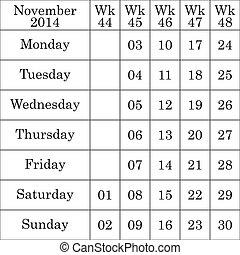 弱い, 数, それぞれ, 2014, 11 月, カレンダー