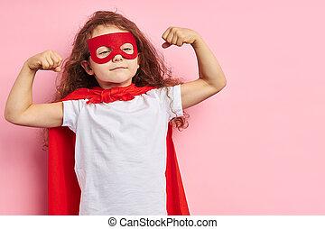 強い, わずかしか, superhero, 女の子, スーツ