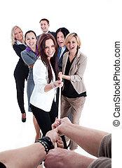 強い, ビジネス チーム, 引き, ∥, ロープ