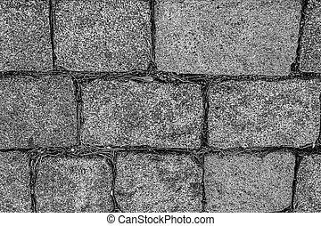 強くされた, スタイル, 背景, 堅い, トラック, パターン, 公園, サイト, 長方形, 灰色, ブロック, 基盤, 花こう岩, モノクローム, 都市