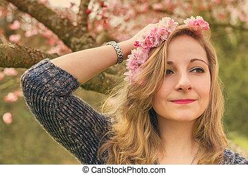 強くされた, 女, image., 春, 若い, flowers., 肖像画