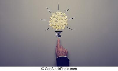 強くされた, 指すこと, ライト, イメージ, レトロ, 電球, ビジネスマン, 図画