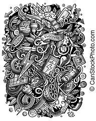 強くされた, 映像, illustration., 面白い, 自動車, ベクトル, doodles, 漫画, 電気である