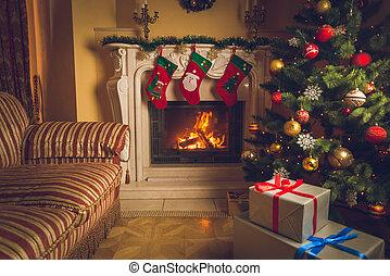 強くされた, 部屋, 燃焼, 暮らし, 写真, 木, クリスマスの ギフト, 内部, 暖炉, 飾られる, 山