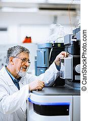 強くされた, image), 科学, 研究者, (shallow, 実験室, 研究, 色, dof;, 届く, ...
