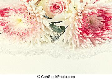 強くされた, lace., イメージ, ばら, 背景, 結婚式