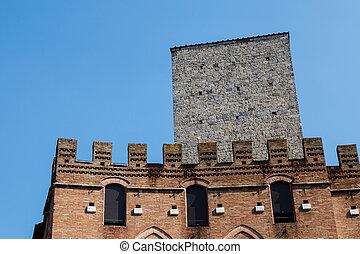 強化された, 中世, 家, 都市で, の, siena, トスカーナ, イタリア