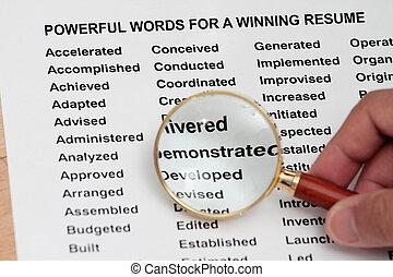 強大, 詞, 為, a, 贏得, 簡歷