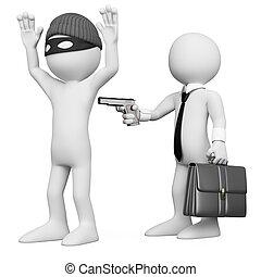 強奪すること, ビジネスマン, 強盗, 3d